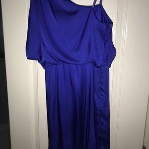 One shoulder silk formal dress